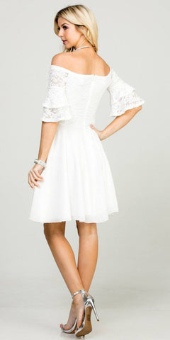 Double Ruffle Sleeve Fit and Flare Off White Dress Off The Shoulder