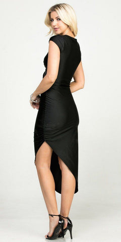 Black Asymmetrical Cocktail Dress Cut-Out Midriff