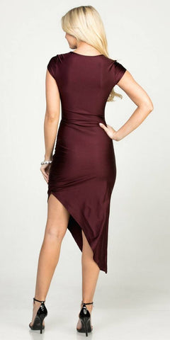 Burgundy Asymmetrical Cocktail Dress Cut-Out Midriff