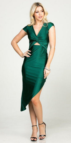 Hunter Green Asymmetrical Cocktail Dress Cut-Out Midriff