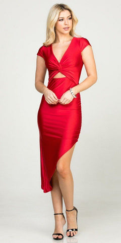 Red Asymmetrical Cocktail Dress Cut-Out Midriff