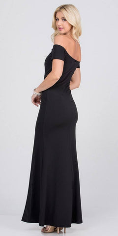 Black Beaded Off-Shoulder Long Formal Dress with Slit