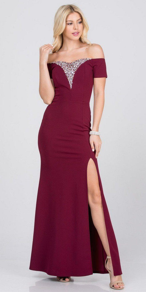 Burgundy Beaded Off-Shoulder Long Formal Dress with Slit