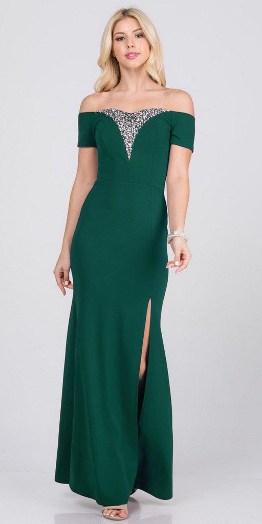 Hunter Green Beaded Off-Shoulder Long Formal Dress with Slit