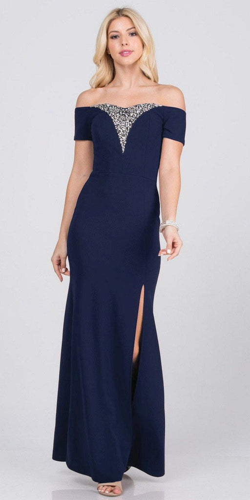 Navy Blue Beaded Off-Shoulder Long Formal Dress with Slit