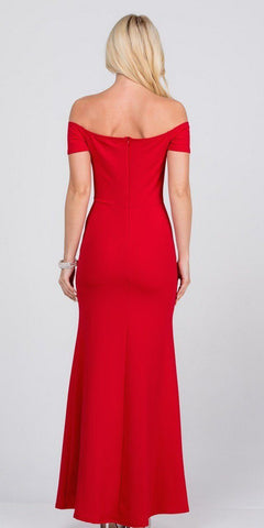 Red Beaded Off-Shoulder Long Formal Dress with Slit