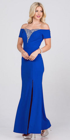 Royal Blue Beaded Off-Shoulder Long Formal Dress with Slit
