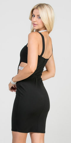Black Fitted Short Party Dress with Side Cut-Out