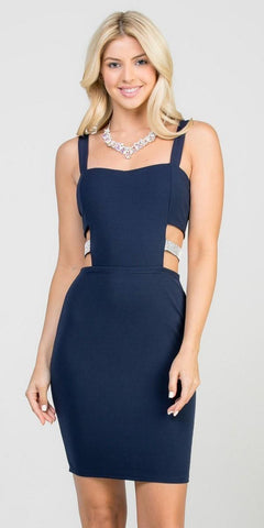 Navy Blue Fitted Short Party Dress with Side Cut-Out