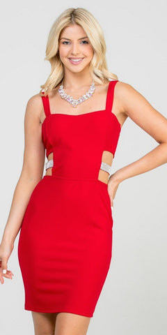 Red Fitted Short Party Dress with Side Cut-Out