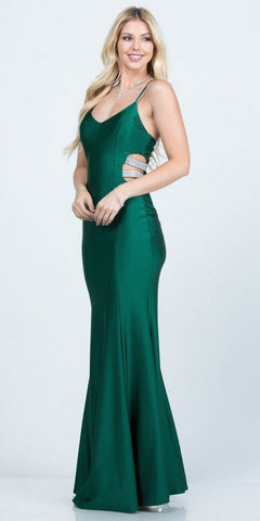 Long Fitted Gown Teal Metallic Fabric Criss Cross Open Back
