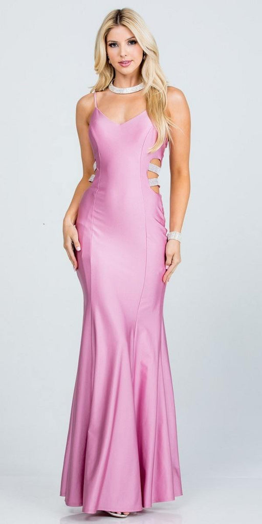 V-Neck Long Prom Dress with Side Cut-Outs Orchid