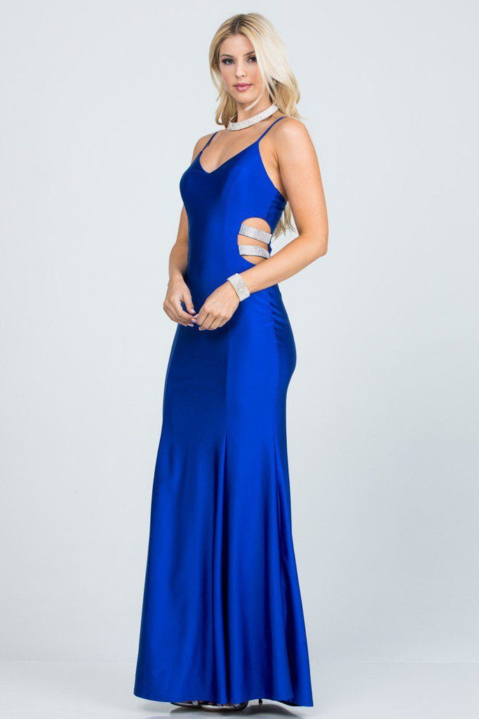 V-Neck Long Prom Dress with Side Cut-Outs Royal Blue