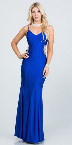 Off-the-Shoulder Glitter High-Low Prom Dress Navy Blue