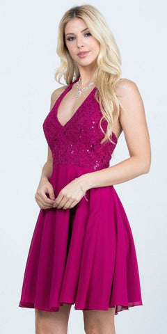 Lace Appliqued Homecoming Short Dress Burgundy