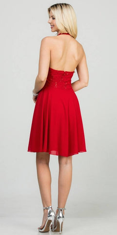 Red Lace Top Halter Short Party Dress