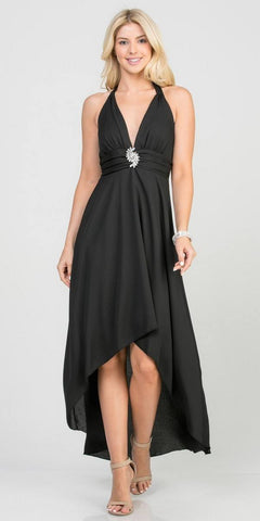 Halter V-Neck High and Low Formal Dress Black
