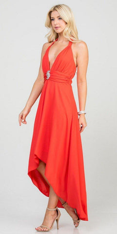 Halter V-Neck High and Low Formal Dress Coral