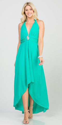Halter V-Neck High and Low Formal Dress Mint