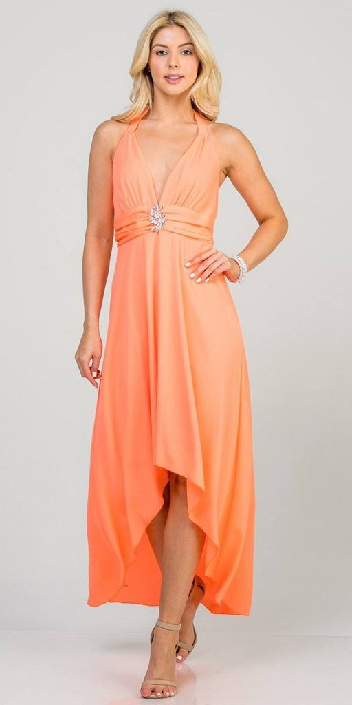 Halter V-Neck High and Low Formal Dress Neon Coral