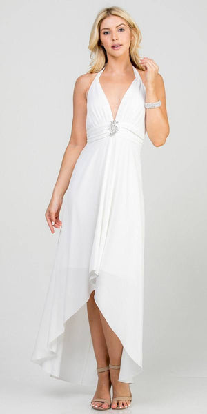 Halter V-Neck High and Low Formal Dress Off White