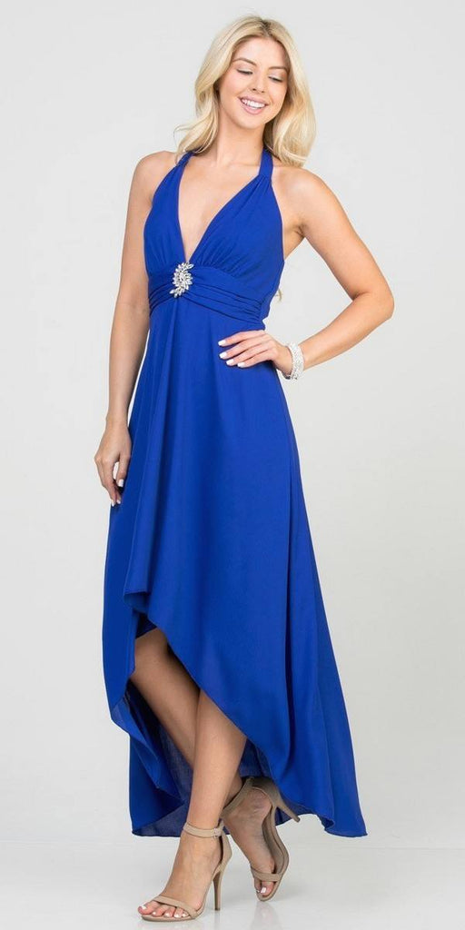 Halter V-Neck High and Low Formal Dress Royal Blue
