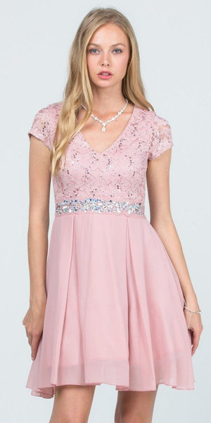 Embellished Waist V-Neck Short Cocktail Dress Blush