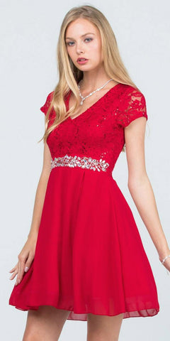 Embellished Waist V-Neck Short Cocktail Dress Red