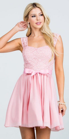 Blush Lace Top Sleeveless Short Cocktail Dress with Bow