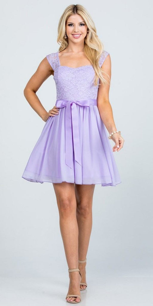 Lilac Lace Top Sleeveless Short Cocktail Dress with Bow