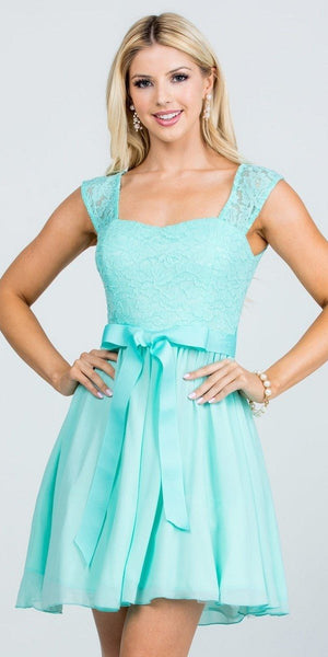 Mint Lace Top Sleeveless Short Cocktail Dress with Bow