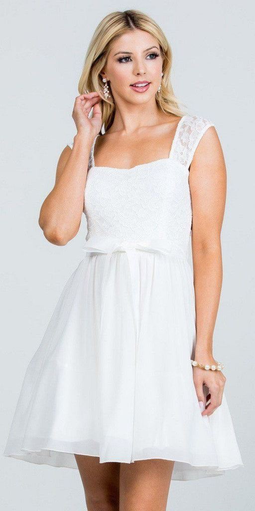 Off White Lace Top Sleeveless Short Cocktail Dress with Bow