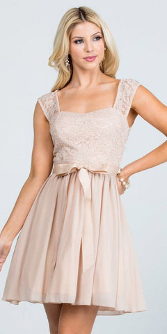 Taupe Lace Top Sleeveless Short Cocktail Dress with Bow