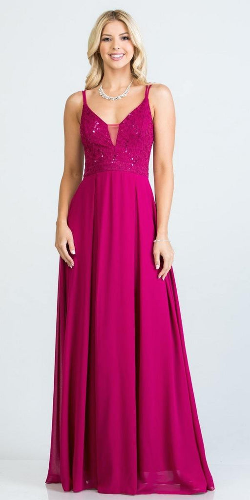 Fuchsia Long Formal Dress with Double Spaghetti Straps