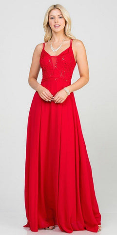 Red Long Formal Dress with Double Spaghetti Straps
