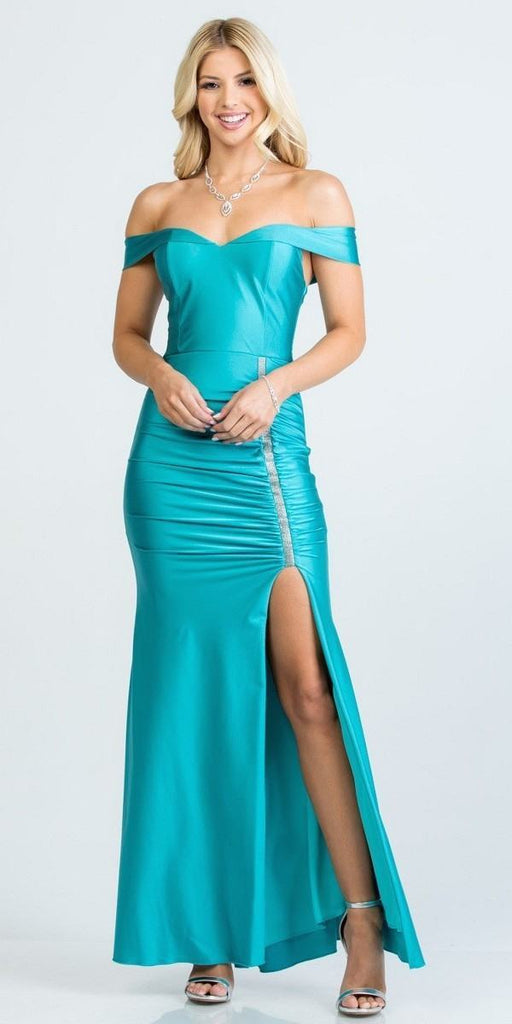 Of the Shoulder Long Mermaid Sheath Gown Aqua With Side Slit
