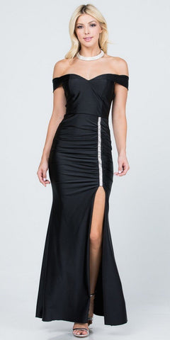 Fitted Glitter Sparkle Ruched Gown Charcoal With Leg Slit And V-Neckline