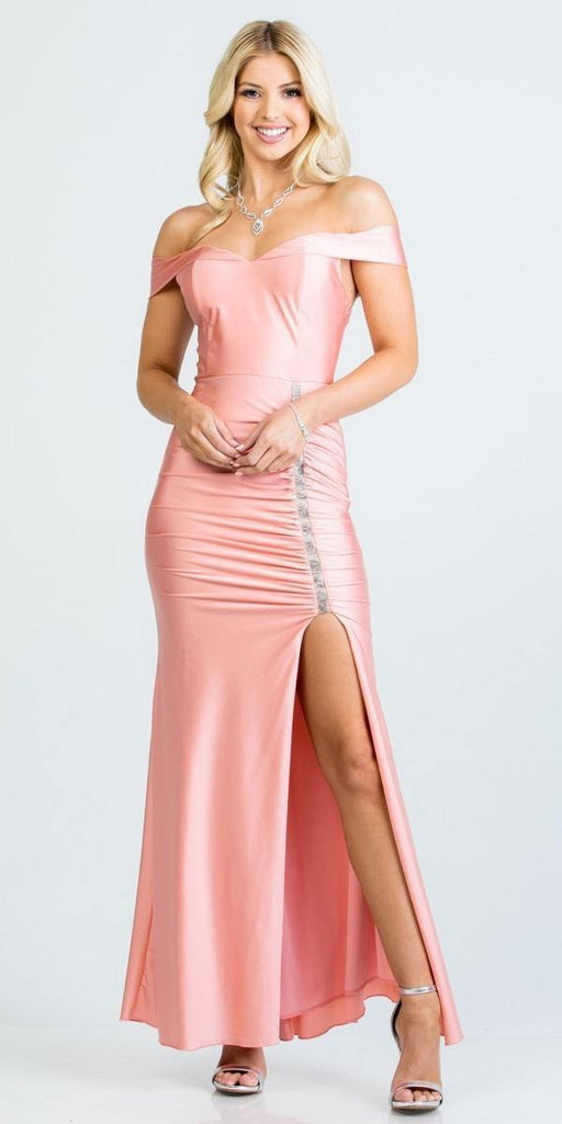 Of the Shoulder Long Mermaid Sheath Gown Blossom With Side Slit