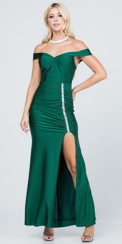 Long Strapless Teal Formal Dress Satin Rhinestone Pleated Bodice