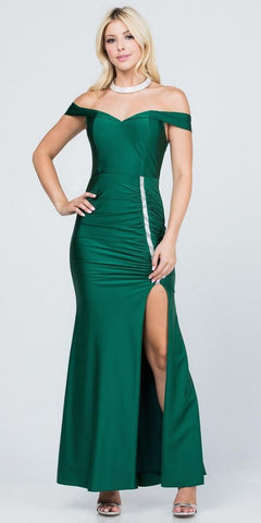 Of the Shoulder Long Mermaid Sheath Gown Hunter Green With Side Slit
