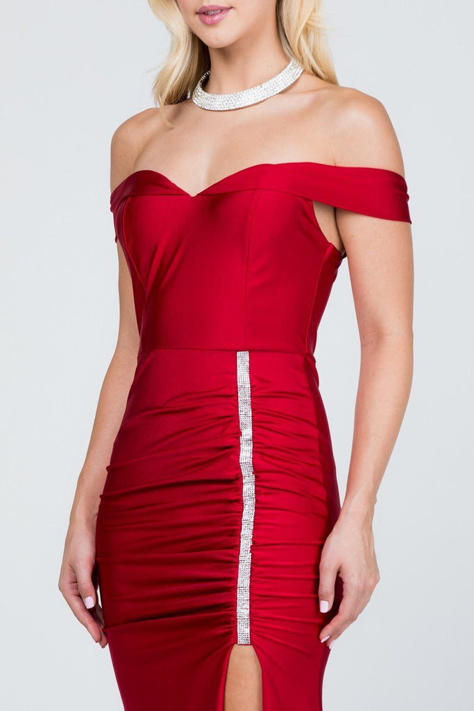 Of the Shoulder Long Mermaid Sheath Gown Red With Side Slit