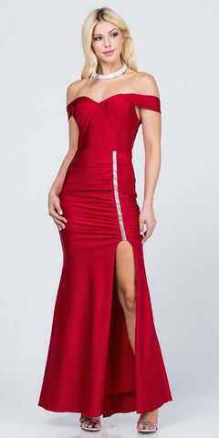 High Neckline Embellished Evening Gown Keyhole Bodice Red