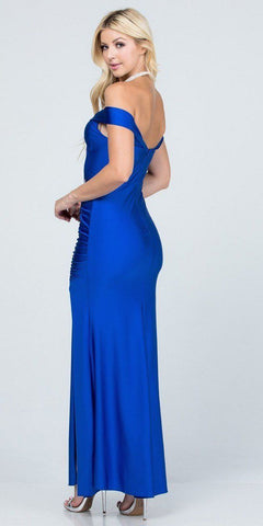 Of the Shoulder Long Mermaid Sheath Gown Royal Blue With Side Slit