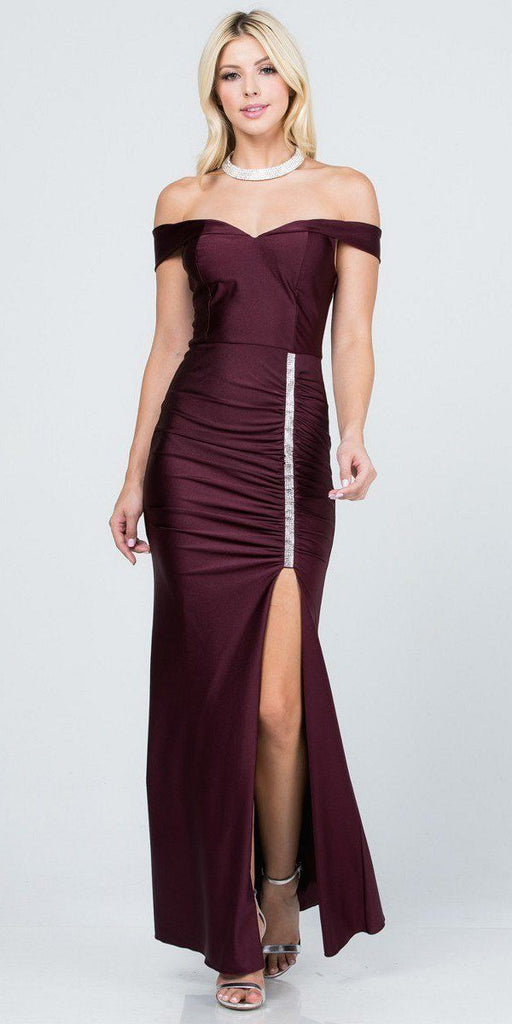 Of the Shoulder Long Mermaid Sheath Gown Burgundy With Side Slit