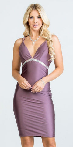 Strappy-Back Shimmering Short Party Dress V-Neck Dark Mauve