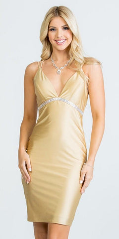 Strappy-Back Shimmering Short Party Dress V-Neck Gold