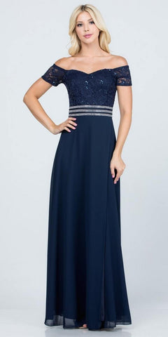 Navy Blue Off-Shoulder Long Formal Dress with Slit