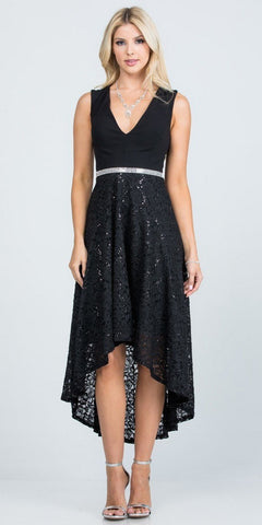 Black Beaded Waist Long Formal Dress with Long Bell Sleeves
