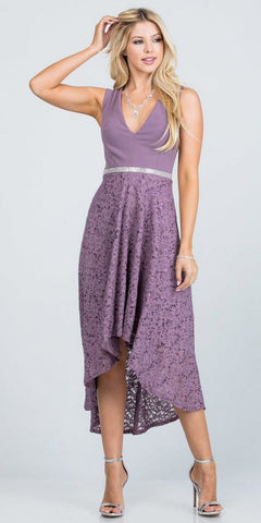 Sleeveless High and Low Formal Dress V-Neck Dark Lavender