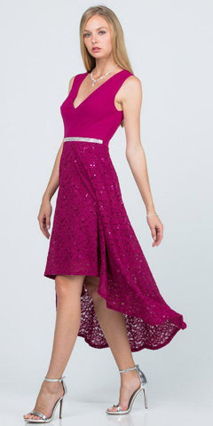 Sleeveless High and Low Formal Dress V-Neck Fuchsia